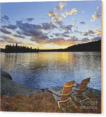 Sunset In Algonquin Park Wood Print by Elena Elisseeva