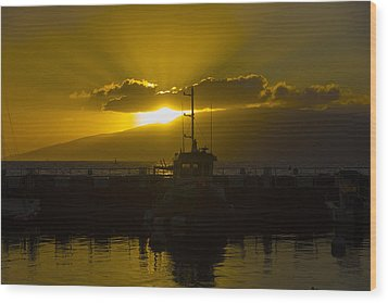 Sunset Lahaina Marina Wood Print by Norman Blume