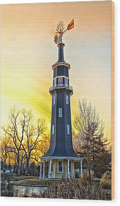 Sunset On The Dwight Windmill Wood Print by Thomas Woolworth