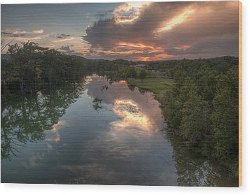 Sunset On The Guadalupe River Wood Print by Paul Huchton