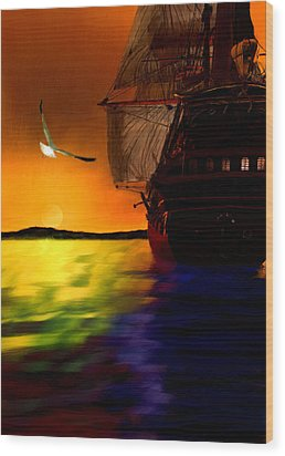 Sunset Sails Wood Print by Lourry Legarde