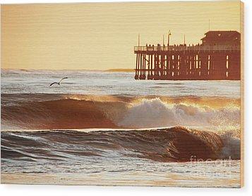Sunset Surf Santa Cruz Wood Print by Paul Topp