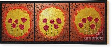 Sunshine Poppies - Abstract Oil Painting Original Metallic Gold Textured Modern Contemporary Art Wood Print by Emma Lambert