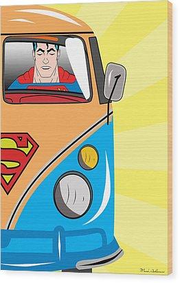Superman 4 Wood Print by Mark Ashkenazi