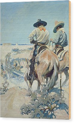 Supply Wagons Wood Print by Newell Convers Wyeth
