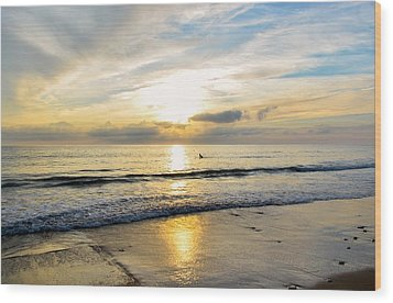 Wood Print featuring the photograph Surf In Light by Thierry Bouriat