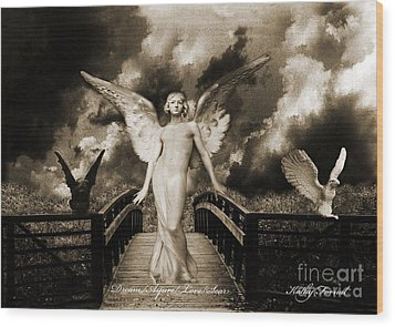 Surreal Gothic Angel With Gargoyle And Eagle Wood Print by Kathy Fornal