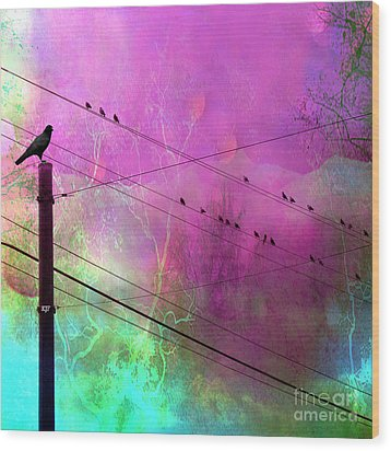 Surreal Gothic Fantasy Raven Crows On Powerlines Wood Print by Kathy Fornal