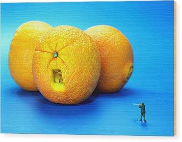 Surrender Mr. Oranges Little People On Food Wood Print by Paul Ge