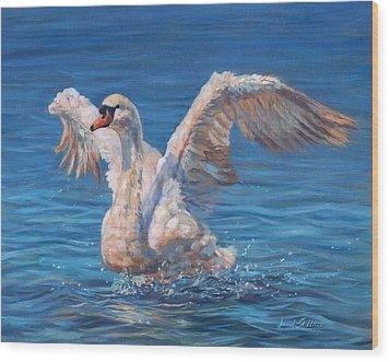 Swan Wood Print by David Stribbling