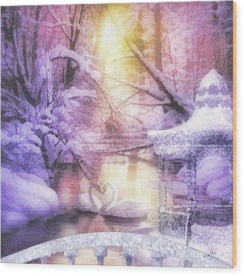 Swan Lake Wood Print by Mo T
