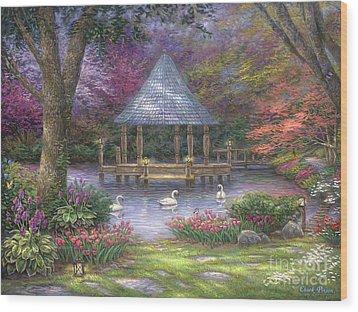 Swan Pond Wood Print by Chuck Pinson