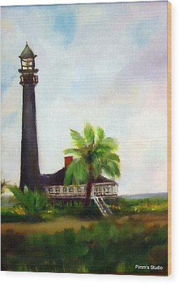 Sweet Charlie Lighthouse Wood Print by Betty Pimm