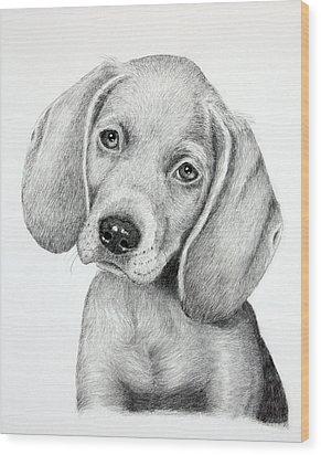Sweet Puppy Love Wood Print by Lorraine Foster