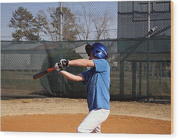 Swing That Bat Wood Print by Carolyn Ricks