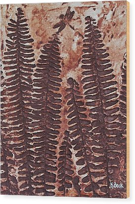 Sword Fern Fossil Wood Print by Katherine Young-Beck