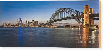 Sydney Harbour Evening Panorama Wood Print by Colin and Linda McKie