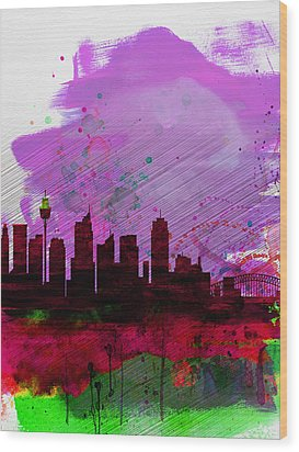 Sydney Watercolor Skyline 2 Wood Print by Naxart Studio