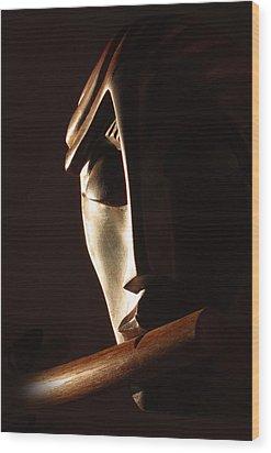 Syrinx A Wood Spirit Wood Print by Windy Dankoff