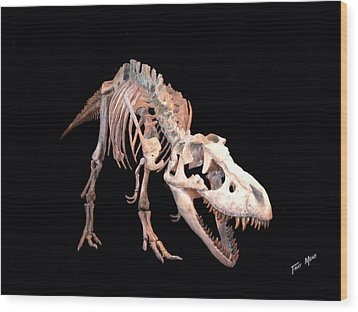 T-rex Wood Print by Tray Mead