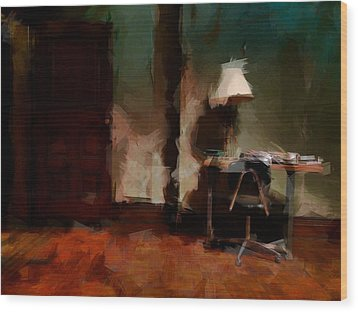 Table Lamp Chair Wood Print by H James Hoff