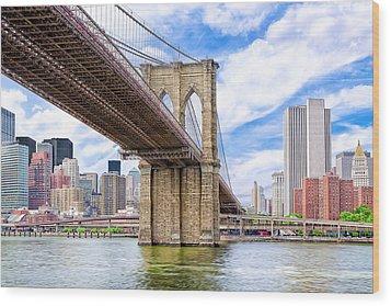 Take The Brooklyn Bridge Into Manhattan Wood Print by Mark E Tisdale