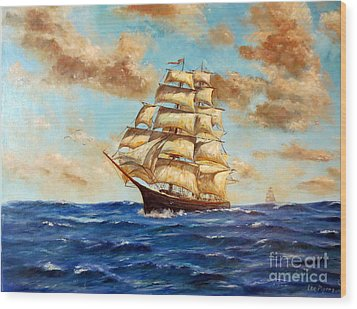Tall Ship On The South Sea Wood Print by Lee Piper