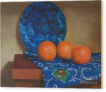 Tangerines Wood Print by Mikhail Kovalev