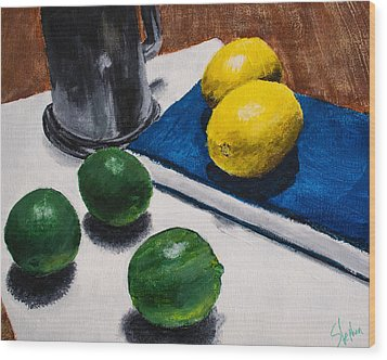 Tankard And Citrus 8x10 Wood Print by Stephen Nantz
