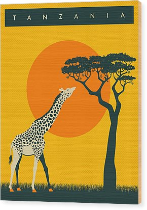 Tanzania Travel Poster Wood Print by Jazzberry Blue