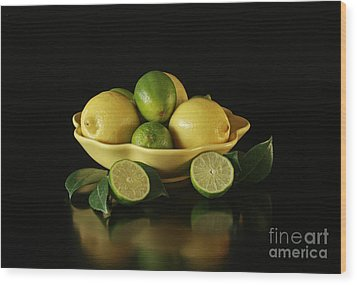 Tart And Tasty With Lemon And Lime Wood Print by Inspired Nature Photography Fine Art Photography