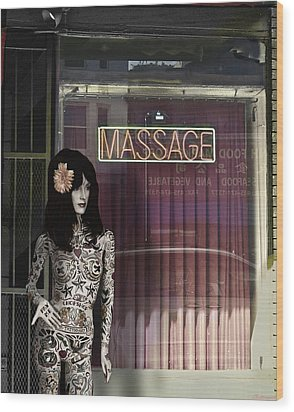 Tattoo And Massage Wood Print by Larry Butterworth