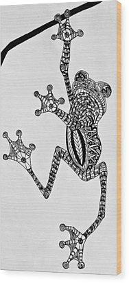 Tattooed Tree Frog - Zentangle Wood Print by Jani Freimann