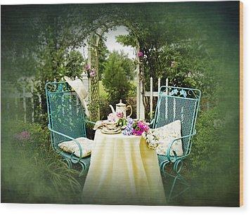 Tea In My Garden Wood Print by Trudy Wilkerson