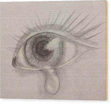 Tear Wood Print by Bozena Zajaczkowska