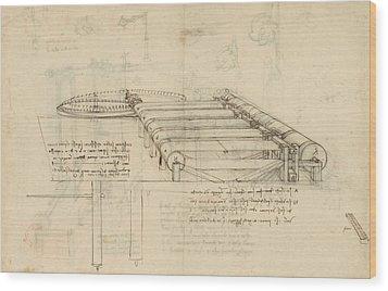 Teaselling Machine To Manufacture Plush Fabric From Atlantic Codex  Wood Print by Leonardo Da Vinci