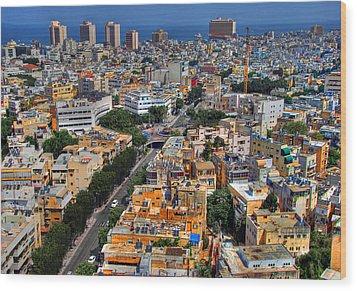 Tel Aviv Eagle Eye View Wood Print by Ron Shoshani