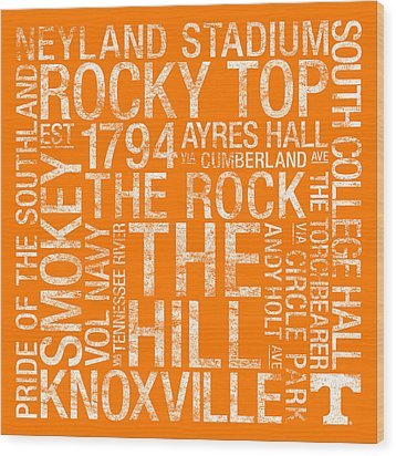 Tennessee College Colors Subway Art Wood Print by Replay Photos