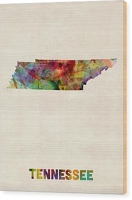 Tennessee Watercolor Map Wood Print by Michael Tompsett