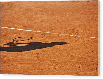 Tennis Player Shadow On A Clay Tennis Court Wood Print by Dutourdumonde Photography