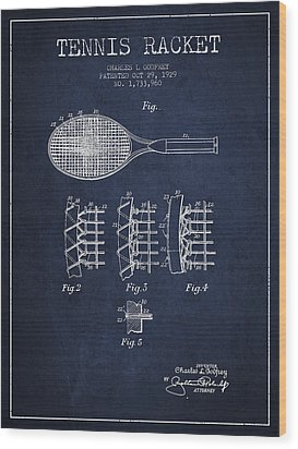 Tennnis Racket Patent Drawing From 1929 Wood Print by Aged Pixel