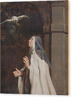 Teresa Of Avilas Vision Of A Dove Wood Print by Peter Paul Rubens