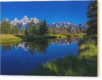 Teton Reflection Wood Print by Chad Dutson