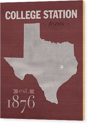 Texas A And M University Aggies College Station College Town State Map Poster Series No 106 Wood Print by Design Turnpike