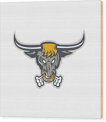 Texas Longhorn Bull Head Front Wood Print by Aloysius Patrimonio