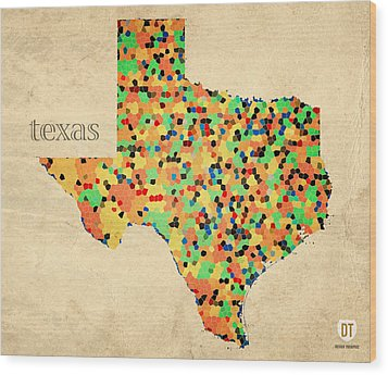 Texas Map Crystalized Counties On Worn Canvas By Design Turnpike Wood Print by Design Turnpike