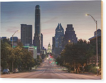 The Austin Skyline And Texas State Capitol From Congress 1 Wood Print by Rob Greebon