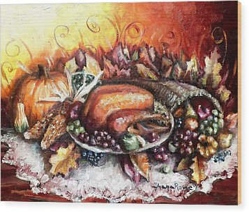 Thanksgiving Dinner Wood Print by Shana Rowe Jackson