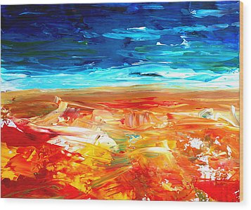 The Abstract Rainbow Beach Series II Wood Print by M Bleichner