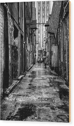 The Alleyway In Market Square - Knoxville Tennesse Wood Print by David Patterson